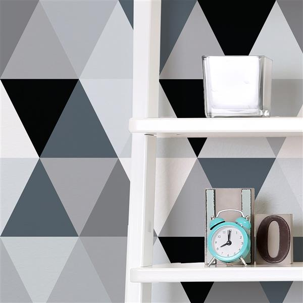 ADzif Triangles 8 sq ft Black Adhesive Wallpaper