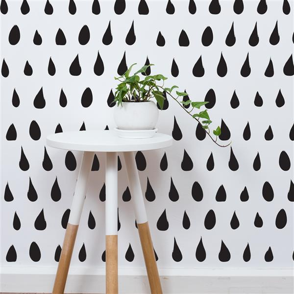 ADzif Drops 8 sq ft Black Adhesive Wallpaper