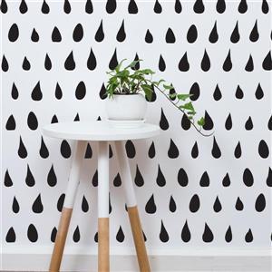 ADzif Drops 8 sq ft Black Adhesive Wallpaper