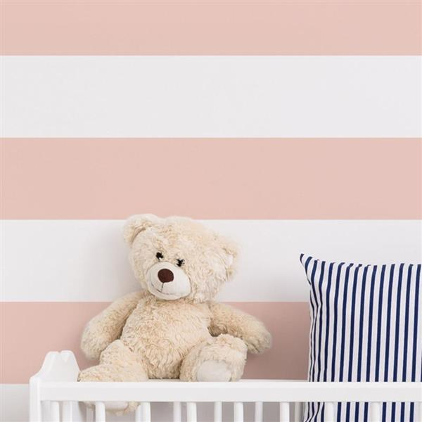 ADzif Stripes 8 sq ft Pink/White Adhesive Wallpaper