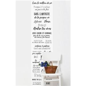 Papier peint adhésif, textes inspirants, 10' x 8', blanc