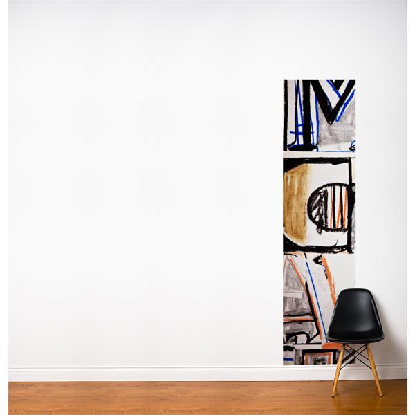 Papier peint adhésif, grafittis, 2' x 8', multicolore