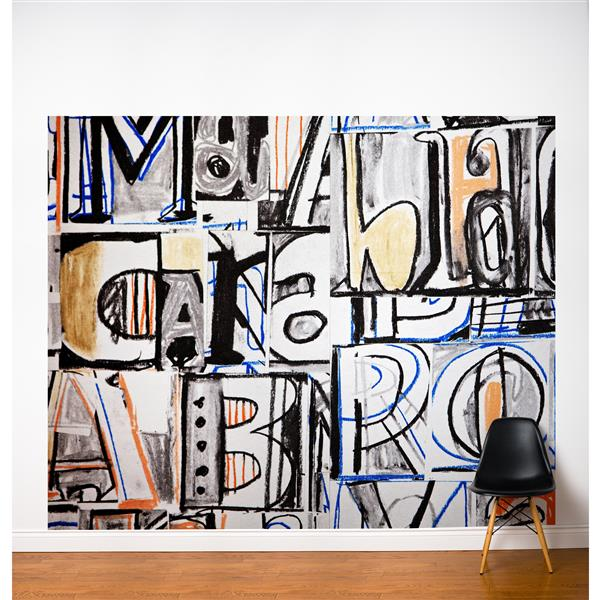 Papier peint adhésif, grafittis, 10' x 8', multicolore