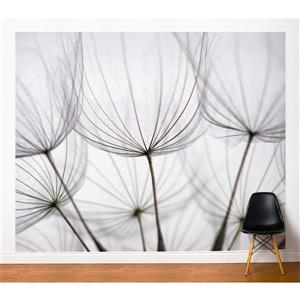 ADzif Dandelions 10-ft x 8-ft White Adhesive Wallpaper