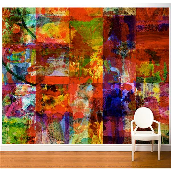 ADzif  Abstract Art 10-ft x 8-ft Multi Colour Adhesive Wallpaper