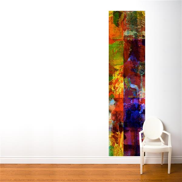 Papier peint adhésif, art abstrait, 2' x 8', multicolore