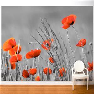 Papier peint adhésif, coquelicots, 10' x 8', rouge/gris