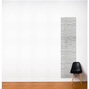 Papier peint adhésif, briques, 2' x 8', gris/blanc