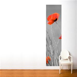 ADzif Poppies 2-ft x 8-ft Red/Grey Adhesive Wallpaper