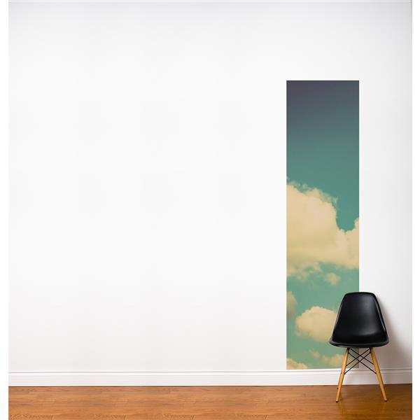 Papier peint adhésif, paradis, 2' x 8', bleu/blanc