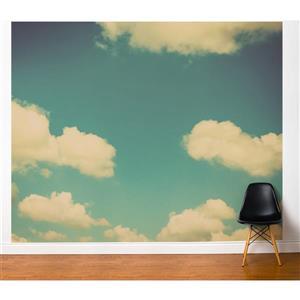Papier peint adhésif, paradis, 10' x 8', bleu/blanc