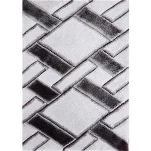 Tapis Nova, 6' x 9', blanc et noir