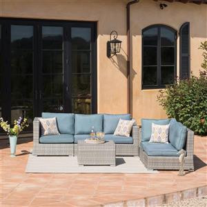 Starsong Kavala 6 pc Grey & Blue Outdoor Sectional Seating Set