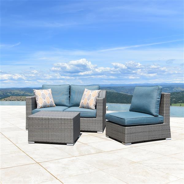 Starsong Kavala 4 pc Grey & Blue Outdoor Sectional Seating Set