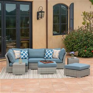 Starsong Kavala 8 pc Grey & Blue Outdoor Sectional Seating Set