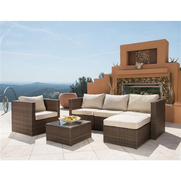Starsong Milan 6 pc Beige & Brown Outdoor Seating Set