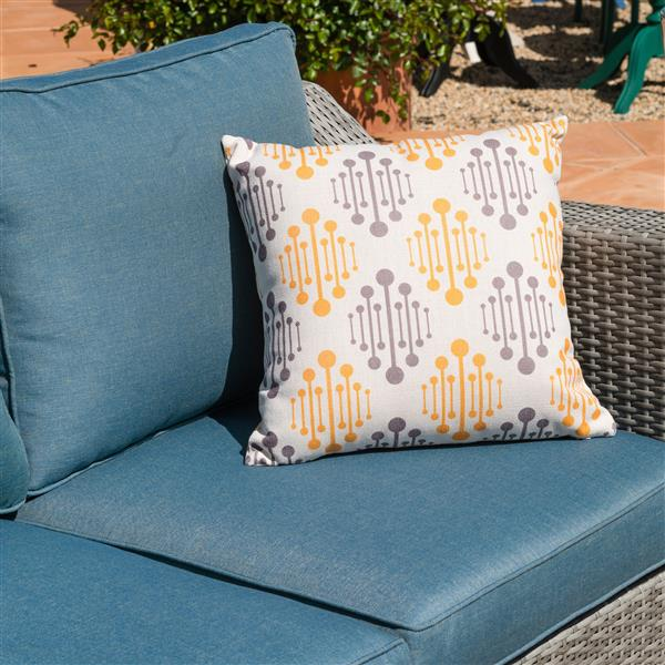 Starsong Kavala 11 pc Grey & Blue Outdoor Sectional Seating Set