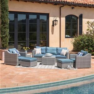 Starsong Kavala 9 pc Grey & Blue Outdoor Sectional Seating Set