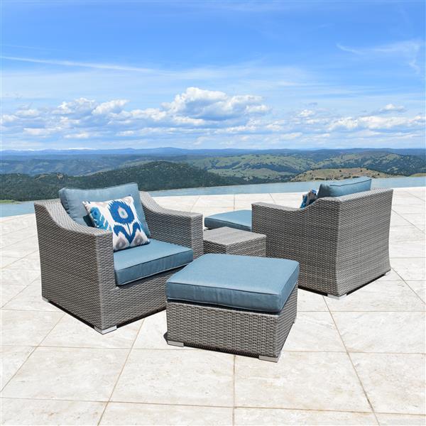 Starsong Kavala 5 pc Grey & Blue Outdoor Club Chair Set