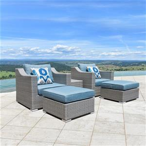 Starsong Kavala 5 pc Grey & Blue Outdoor Club Chair Set