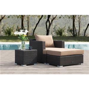 Starsong Borealis 3 pc Brown & Beige Havana Outdoor Club Chair Set