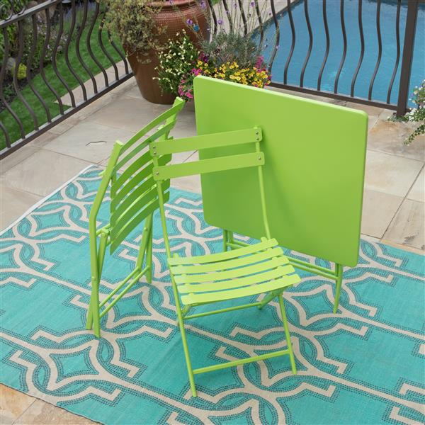 Starsong Zena 3-Piece Lime Green Foldable Square Outdoor Bistro Set