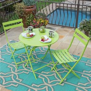 Starsong Zena 3-Piece Lime Green Foldable Round Outdoor Bistro Set