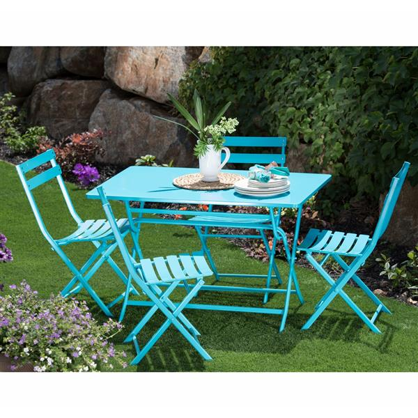 Starsong Zena 5-Piece Turquoise Foldable Outdoor Bistro Set