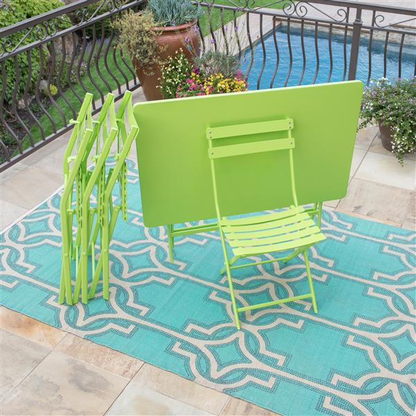 Starsong Zena 5-Piece Lime Green Foldable Outdoor Bistro Set
