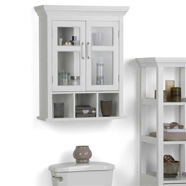 Simpli Home Avington 10-In x 24-In x 30-In White Two Door Wall Cabinet