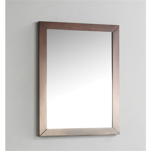 Simpli Home Burnaby Bath Vanity Décor 22-in x 30-in Walnut Brown Mirror
