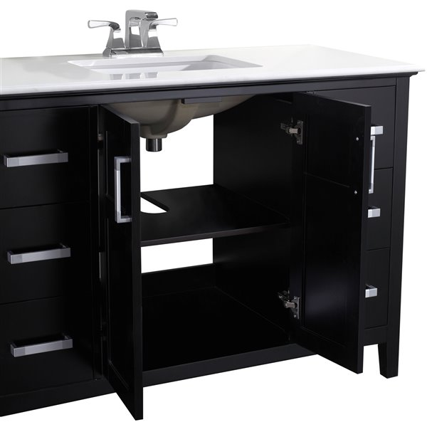 Simpli Home Winston 48-in Black  With Sink Bombay White Quartz Marble Top Vanity