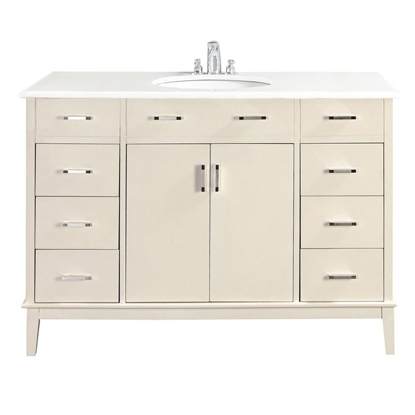 Simpli Home Urban Loft 49 - in Off White Bathroom Vanity with White Quartz Marble Top