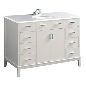 Simpli Home Urban Loft 49 - in Off White Bathroom Vanity with White Quartz Marble Top