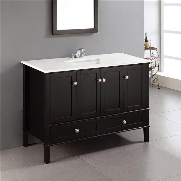 Simpli Home Chelsea 48-in Black Bathroom Vanity with Marble Top