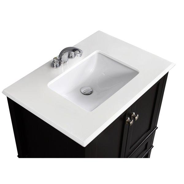 Simpli Home Chelsea 30-in Black Bathroom Vanity with Marble Top