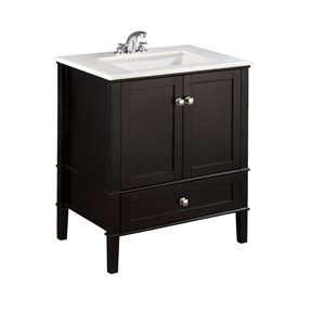 Chelsea 30-in Black Bathroom Vanity with Marble Top