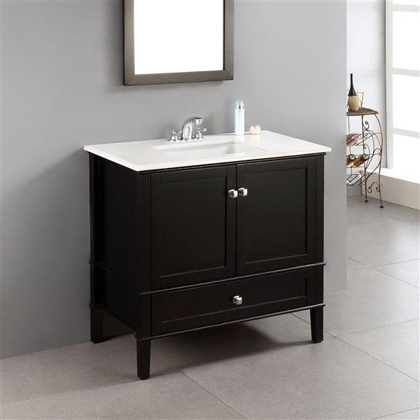 """Meuble-lavabo Chelsea, marbre en quartz blanc, 36"""", noir"""