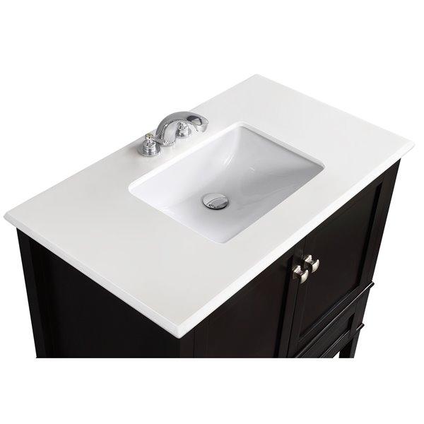 Simpli Home Chelsea 36-in Black Bathroom Vanity with Marble Top