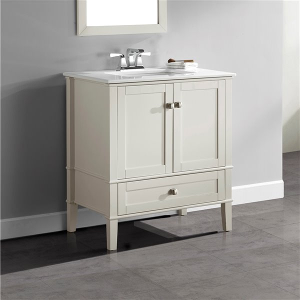 Simpli Home Chelsea 30-in Off White Bathroom Vanity with Marble Top