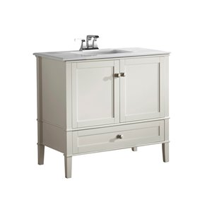 Chelsea 36-in Off White Bathroom Vanity with Marble Top