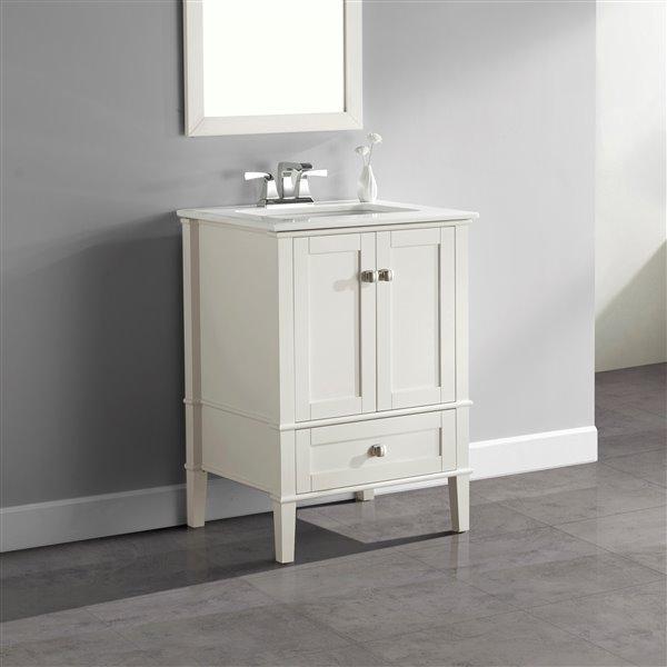 """Meuble-lavabo Chelsea, marbre en quartz blanc, 24"""", blanc"""