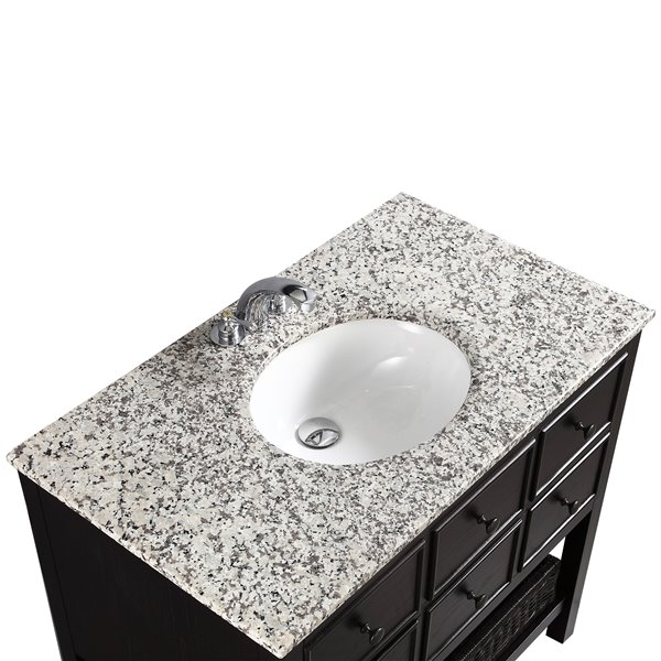 Simpli Home Burnaby 36-in Espresso Brown Bathroom Vanity with Granite Top