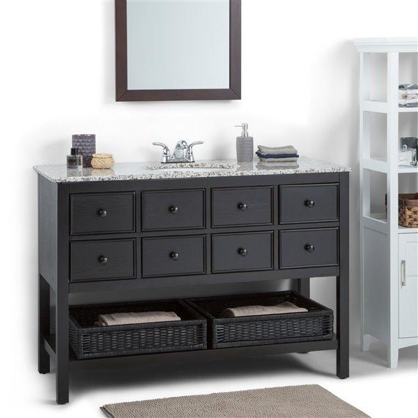 Simpli Home Burnaby Vanity - Dappled Grey Granite - 48-in - Espresso Brown