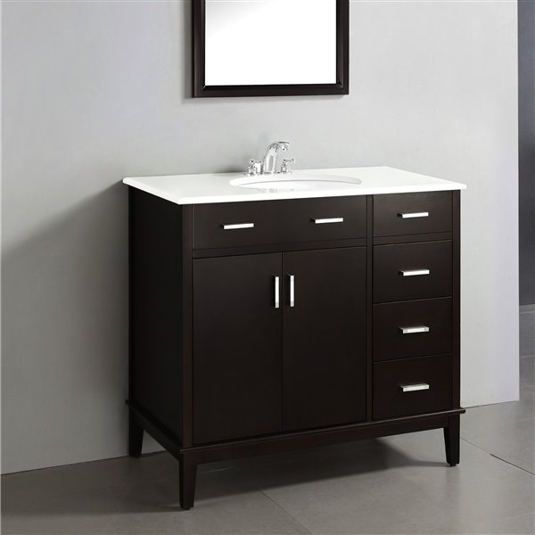 "Meuble-lavabo Urban Loft, marbre en quartz blanc, 36"", brun"