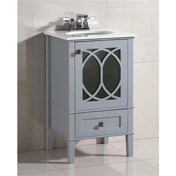 """Meuble-lavabo Paige, marbre en quartz blanc, 20"""", gris"""