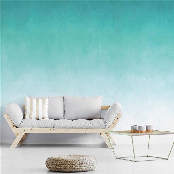 Papier peint adhésif, aquarelle paradis bleu, 10' x 8'