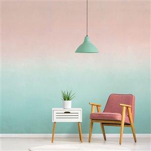 Papier peint adhésif, aquarelle vert et rose, 10' x 8'