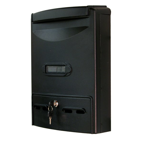 Fine Art Lighting Ltd. Black Aluminum Wall- Mounted Locking Mailbox