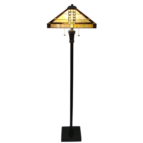 Fine Art Lighting Ltd. Mission Vintage Bronze Glass Floor Lamp